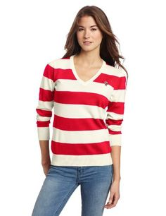 698bd6db1977c US Polo womens striped V-Neck Sweater  Sweater,  US Polo,