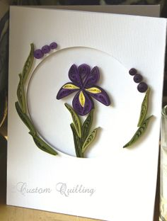 Iris Flower Card Quilling Kit Kit includes instructions, 1/8 strips, and oval tri-fold cards with envelopes. www.customquilling.com