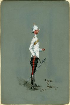 Royal Artillery (1910) By E., G.   Gouche sketch, soldier decked out in tropical kit