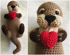 Make a Romp Of Otters – Fun Knit & Crochet Patterns! Did you know that a river otter's tail makes up almost half of its body length? While river otters move and shake with ease, sea otters are a little more awkward but their hands are h… Crochet Animal Patterns, Stuffed Animal Patterns, Crochet Patterns Amigurumi, Crochet Dolls, Baby Knitting Patterns, Crochet Animals, Amigurumi Doll, Crochet Motifs, Knit Or Crochet