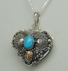 TURQUOISE CREMATION JEWELRY STERLING SILVER HEART URN NECKLACE MEMORIAL