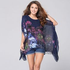Women's shirt chiffon blouse printing blouses 2016 pattern Offer Sale Long Batwing Sleeve O-neck Women Tops Blusa clothing brand