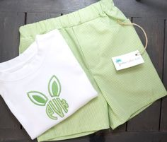 Boys Easter Monogram Applique Shirt - Bunny Ear Monogram - Green - Boys Easter Outfit w/ matching Gingham Shorts Also Available