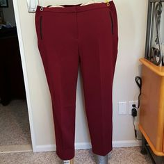 Susan Graver faux leather trimmed pants Polyester rayon spandex blend maroon pants. Two front slash pockets lined with faux leather. Zipper fly and no back pockets. Inseam 30.5 inches. Brand new without tags and never worn. Susan Graver Pants Trousers