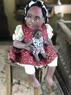 Miniature Dollhouse Sculpted Doll Artisan Sitting African American Girl-Doll #Unknown
