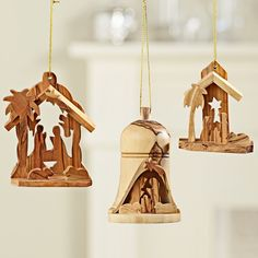 Holy Land Olive-wood Nativity Ornaments | National Geographic Store