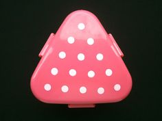 2 Tier Onigiri Bento Box Triangle Pink With White Polka Dots With A Small Fork