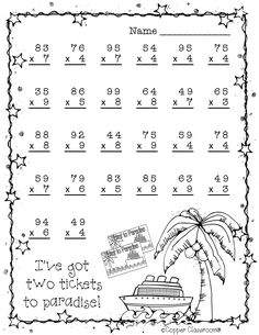 Summer Double Digit Multiplication With Regrouping, Two Digit Multiplication Two Digit Multiplication, Math Multiplication Worksheets, Math Sheets, Math Stations, 2nd Grade Math, Math For Kids, Teaching Math, In Kindergarten, Teaching Resources
