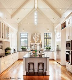 Fabulous Kitchen with soaring heights.  Interesting overhead lighting! NC-State-Chancellor's House
