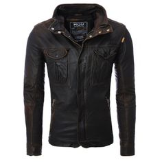 Men's Antique Brown Leather Jacket by M.O.D From Katwalk Casa