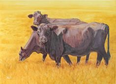 Hot Lunch - Animal/Cow Oil Painting by Susan Nall