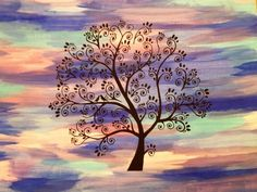 Whimsical Tree Acrylic Painting Birds on a Branch