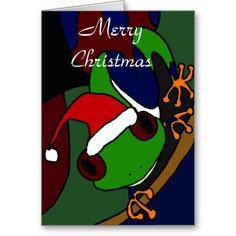 Awesome Tree Frog Christmas Art Greeting Cards #treefrog #Christmas # ...