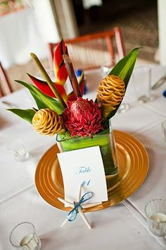 Preparing Flowers for a Tropical Wedding- Wedding Centerpieces.  | Read more: http://simpleweddingstuff.blogspot.com/2015/02/preparing-flowers-for-tropical-wedding.html