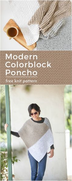 Easy Knit Catalunya Colorblock Poncho: free knitting pattern from . A modern colorblock wrap or poncho using a simple knit garter stitch! Poncho Knitting Patterns, Shawl Patterns, Knitted Poncho, Knitted Shawls, Free Knitting, Knitting Sweaters, Knitting Machine, Sewing Patterns, How To Purl Knit