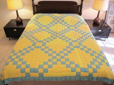 """Vintage Hand Sewn All Cotton IRISH CHAIN QUILT, Well Used; 80"""" Square"""