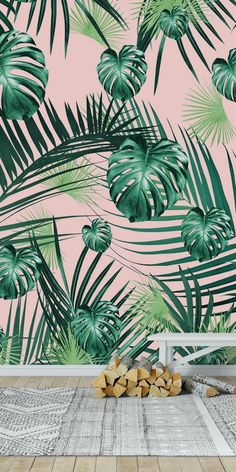 Tropical Jungle Garden 2 Wall Mural / Wallpaper Patterns, - Healty fitness home cleaning Palm Leaf Wallpaper, Tropical Wallpaper, Nature Wallpaper, Tropical Garden, Tropical Plants, Tropical Wall Decor, Bedroom Murals, Wall Murals, Jungle Gardens