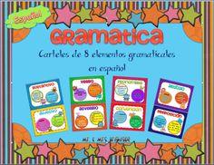 Elements of Grammar signs for use in a bilingual or dual language classroom. Includes 9 signs in spanish: sustantivo, verbo, pronombre, articulo, adjetivo, adverbio, conjuncion, & preposicion.