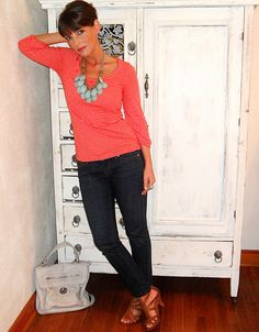 Turquoise & orange.  From PetiteEarlyMorningStyle.blogspot.com