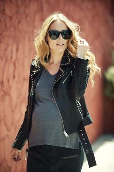 Super cool studded maternity outfit.