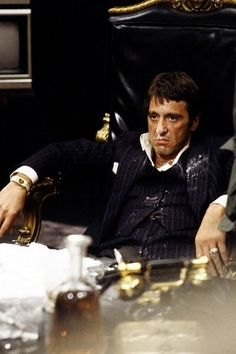 Al Pacino in Scarface. His favorite movie and mine, too!