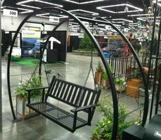 Wow what an addition! a hanging bench from our portal arbor. Introduced at the Yard, Garden and Patio show 2014 Welded Furniture, Iron Furniture, Steel Furniture, Garden Furniture, Outdoor Projects, Garden Projects, Wrought Iron Decor, Backyard, Patio