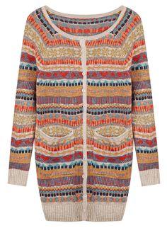 Khaki Fairisle Knit Pockets Front Sweater Coat US$33.61