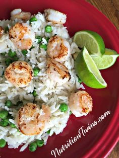 Lime Shrimp with Coconut Rice   Rich, Creamy   Lightened Up Comfort Food   Easy to Make   Only 315 Calories, 30 Grams Protein, Super Satisfying   For MORE RECIPES, fitness & nutrition tips please SIGN UP for our FREE NEWSLETTER www.NutritionTwins.com