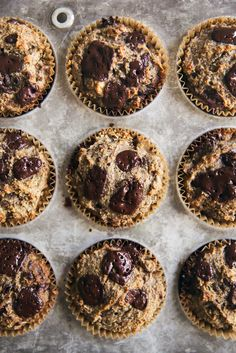 Almond flour banana muffins with nutritious flaxseed meal. No sugar added; high in protein and fiber! Grain free, gluten free, dairy free and paleo-friendly.