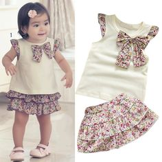Baby 2 piece set floral bloomer skirt + cream top Size months by… Frocks For Girls, Kids Frocks, Little Girl Dresses, Baby Kind, Cute Baby Girl, Kids Dress Patterns, Baby Dress Design, Culottes, Leila