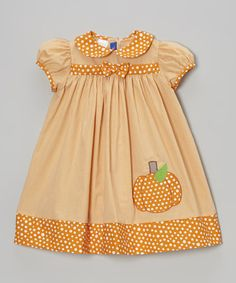 Take a look at this Orange Gingham Pumpkin Dress - Infant & Toddler by Cotton Blu & Cotton Pink on #zulily today!