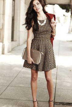 Beautiful printed dress with burgundy coat