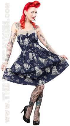Rockabilly say Nautical? Navy Blue, I love you - you scurvy dog!  The Violet Vixen - Walk the Plank Navy Kraken Print Dress, $52.00 (http://thevioletvixen.com/clothing/dresses/walk-the-plank-navy-kraken-print-dress/)
