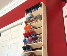 Garage Spray paint storage rack with good tutorial. Workshop Storage, Shed Storage, Workshop Design, Garage Workshop Plans, Basement Workshop, Garage Tool Storage, Can Storage, Basement Storage, Workshop Ideas