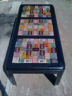 """My Finished """"Game Table"""" this was the coffee table I got from the Garage Sale"""