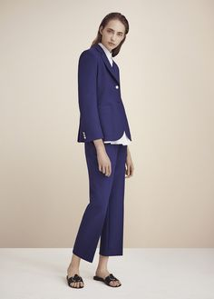 Theory Spring Summer 2016, navy pant suit, navy blazer, navy pants, work outfit, suit for work, work interview, job interview suit