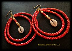 Coral Odyssey Cowrie Shell Hoop Earrings  by Khepera Adornments, LLC