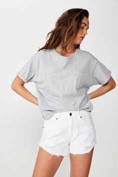 Mid Rise Saturday Denim Short White Shorts Outfit Summer, Summer Outfits, Denim Cutoffs, White Tees, Short Outfits, High Waisted Shorts, Fashion Outfits, Style, High Wasted Shorts