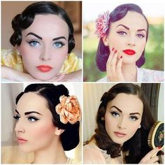 Vintage Makeup-- which look is your favorite? Pin Up Girl Make Up:: Vintage Hair and Makeup Inspiration:: Vintage Look Vintage Makeup Looks, Look Vintage, Vintage Beauty, Retro Makeup, Rockabilly Makeup, Pin Up Makeup, Makeup Tips, Hair Makeup, Makeup Ideas