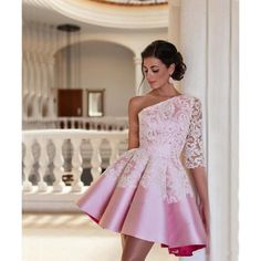 Appliques Pink One Shoulder Short Taffeta A Line Homecoming Dresses... ($139) ❤ liked on Polyvore featuring dresses, one shoulder cocktail dress, pink homecoming dresses, one shoulder homecoming dresses, short pink dress and a line dress