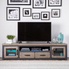 Entertainment Center Wall Unit with Doors Vintage Rustic TV Media Stand Cabinet #VintageRustic