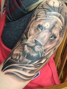 My lioness tattoo done by Nate Euvrard at Secret Society Tattooing Worcester MA #lionesstattoo #lioness #strength