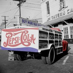 Colorized vintage photo of Pepsi truck circa 1943. Original image by John Vachon.