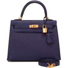 Pre-Owned Hermes Blue Sapphire Epsom Sellier Kelly 25cm Gold Hardware