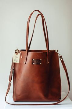 65d82d9bfd0a Vintage Bag Brown Leather Tote Gift for her Brown Tote. Handbags Bags  Shoulder ...