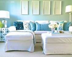Coastal blue and white home: http://www.completely-coastal.com/2015/04/bright-white-coastal-home-decor-with-blue.html