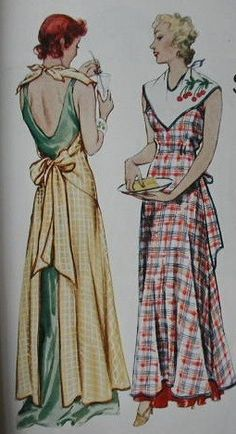 Full length Aprons ~ There was a  time (long ago) when women wore long  dresses while cooking and entertaining...; ).