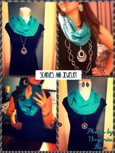 Wear your jewelry with your scarves!       From top left:  Pattern Play; Pattern Play with Indulgence; Crochet; Charleston