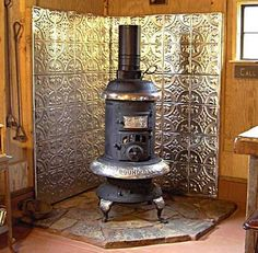 Wood Burning Stove Surround with Tin Tiles - farmhouse - Accessories And Decor - Other Metro - American Tin Ceiling Company