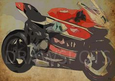 2015 DUCATI PANIGALE R WORLD 12x8.50 in to 60x42 in. by drawspots #etsy #personalizedgift #motorcycle #art